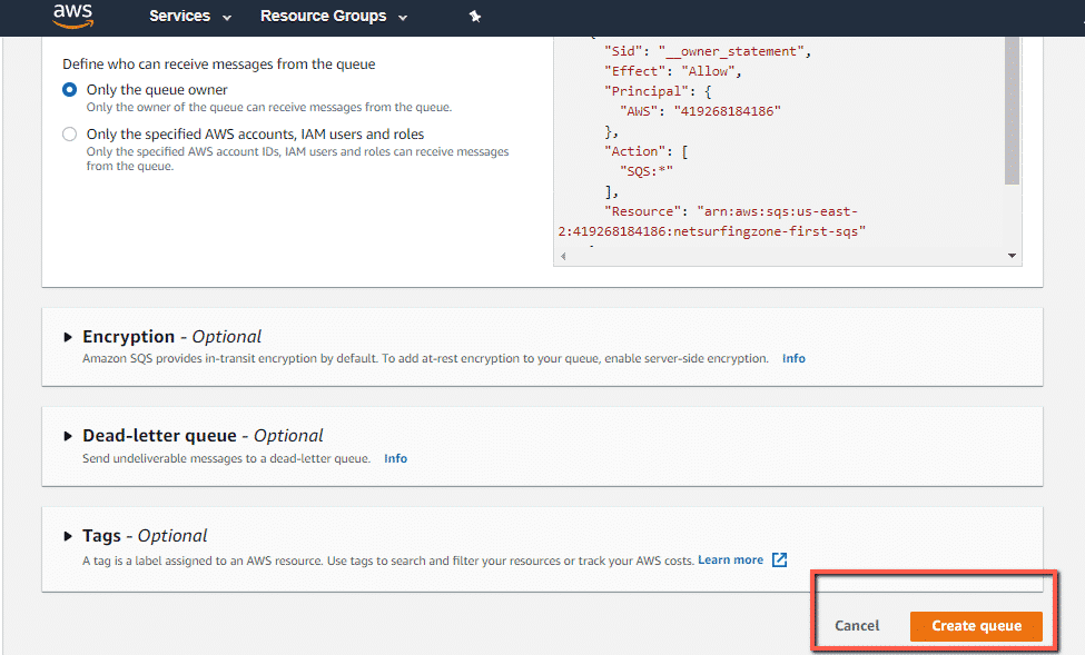 How to create SQS queue in AWS